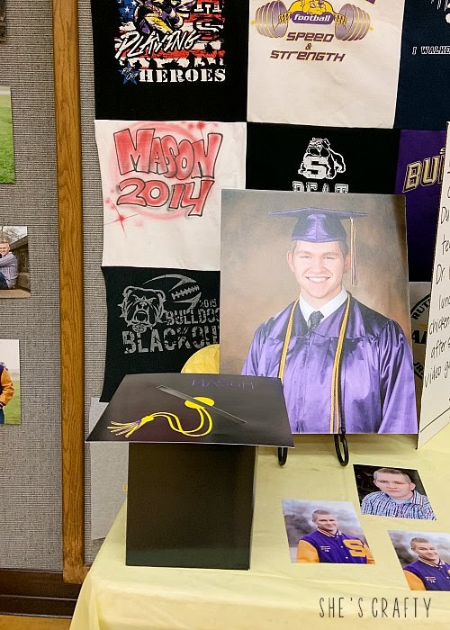 Items to include in a graduation display - card box, photos, tshirt quilt
