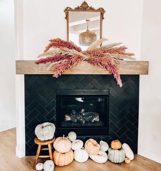 Pampa, Pampa Grass, Chimenea, contrastes, Decor, Fireplace, Halloween, home decor, Inspiration, inspire, Otoño, Salón,