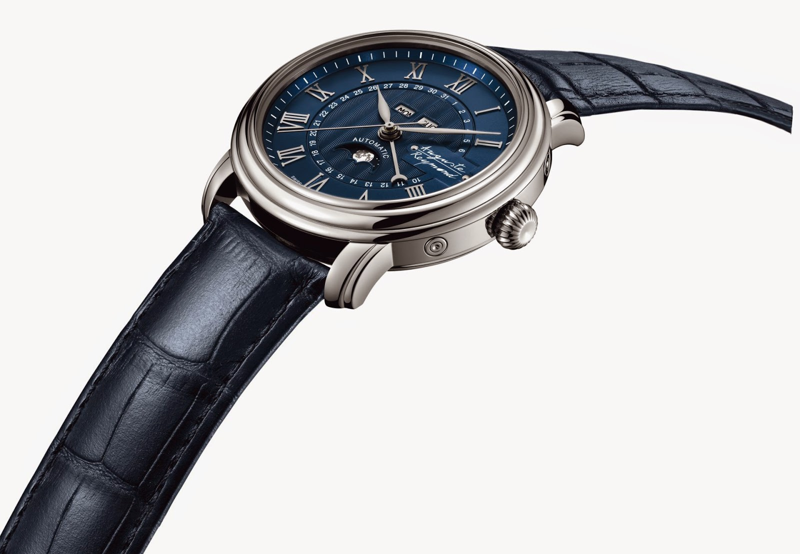 Auguste Reymond Cotton Club Moonphase automatic watch with satin-brushed blue dial