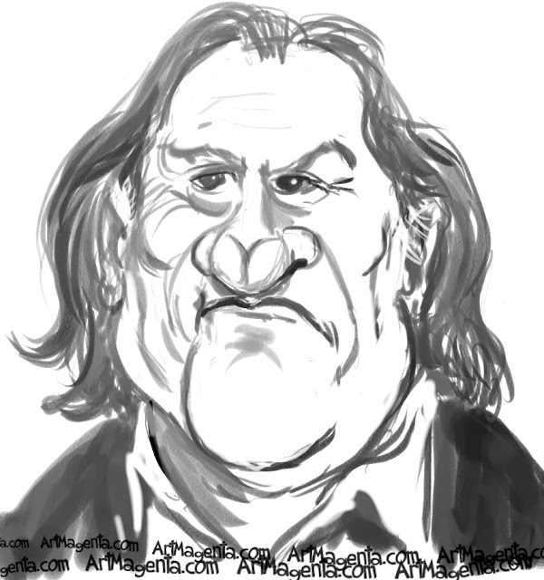 Gerard Depardieu caricature cartoon. Portrait drawing by caricaturist Artmagenta