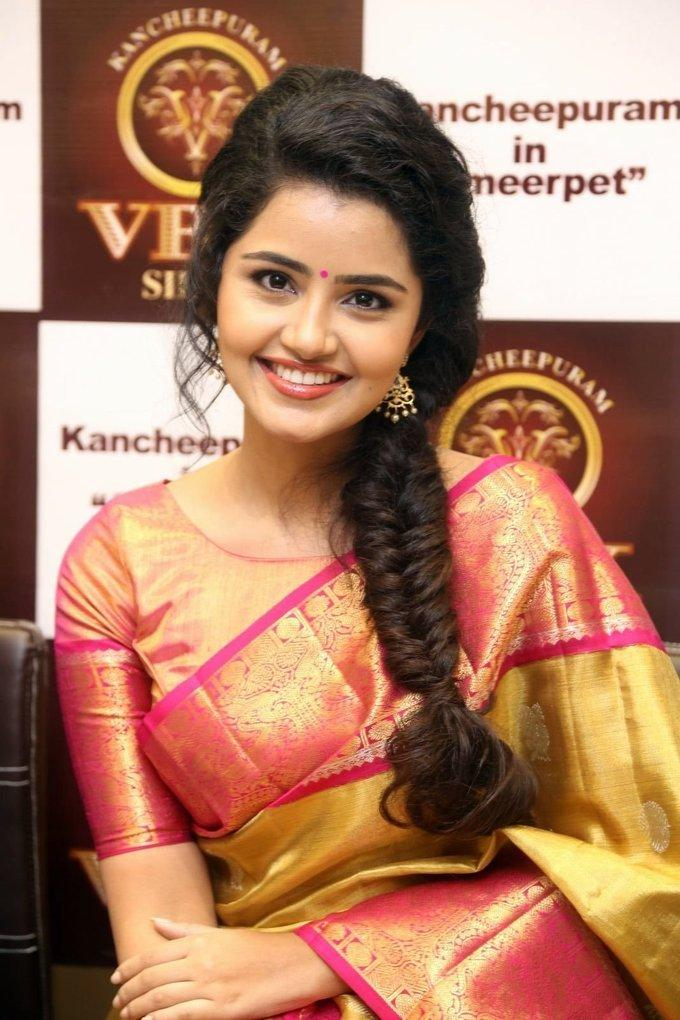 Anupama Parameswaran Stills In Yellow Saree At VRK Silks Opening