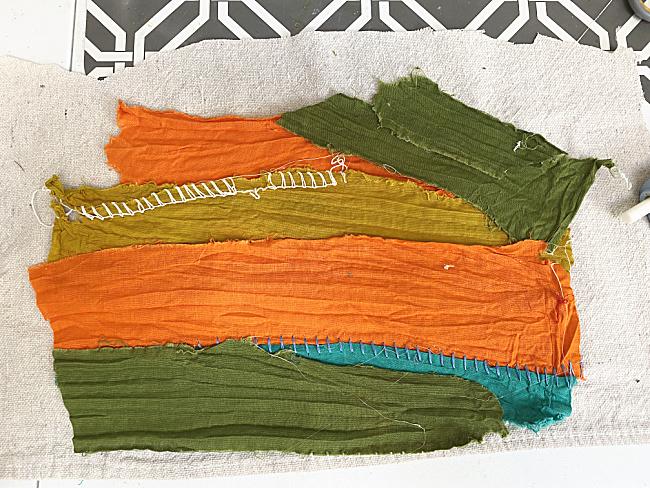 fabric scraps on pumpkin shape