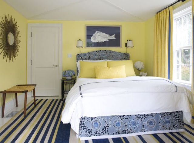 desain interior kamar tidur kuning