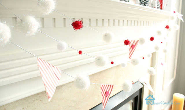 DIY pom pom garland For Valentines day