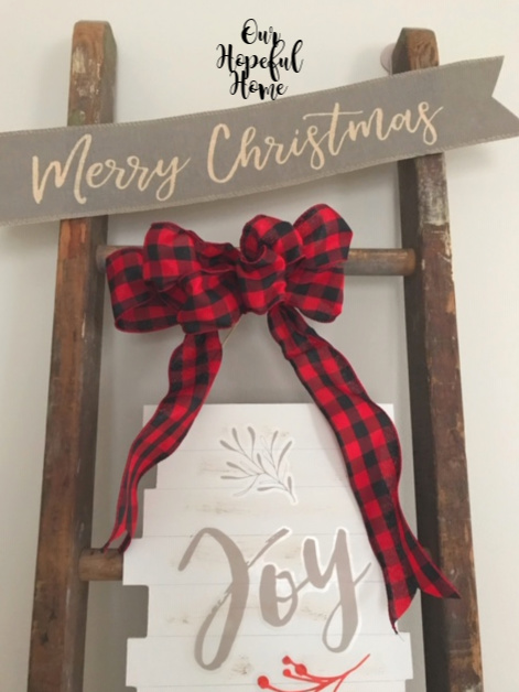 DIY red black buffalo check Christmas bow