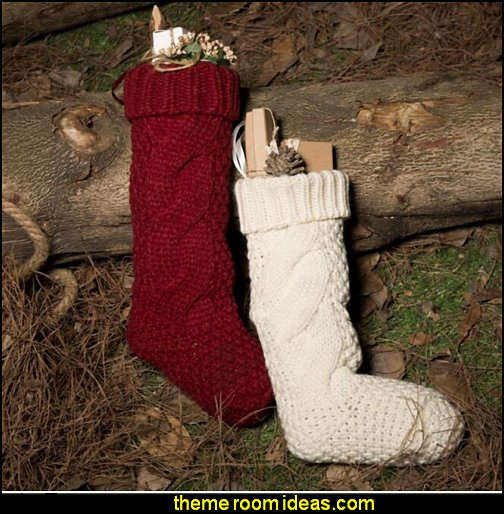 Heavy Knit Elastic Stockings Rustic Christmas decorating ideas - rustic Christmas decorations - Vintage - Rustic - Country style Christmas decorating - rustic Christmas decor - Christmas stockings