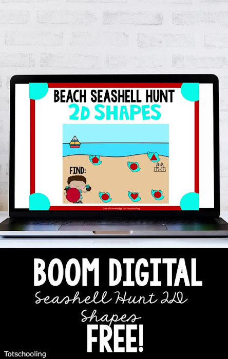 FREE Digital BOOM cards for preschoolers to learn and match shapes, with a fun beach theme!