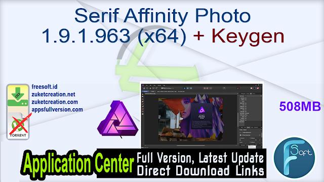 Serif Affinity Photo 1.9.1.963 (x64) + Keygen