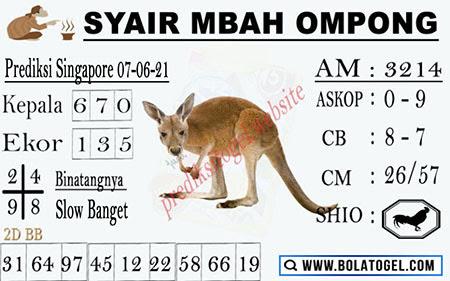 Syair Mbah Ompong Singapura Senin 07-06-2021