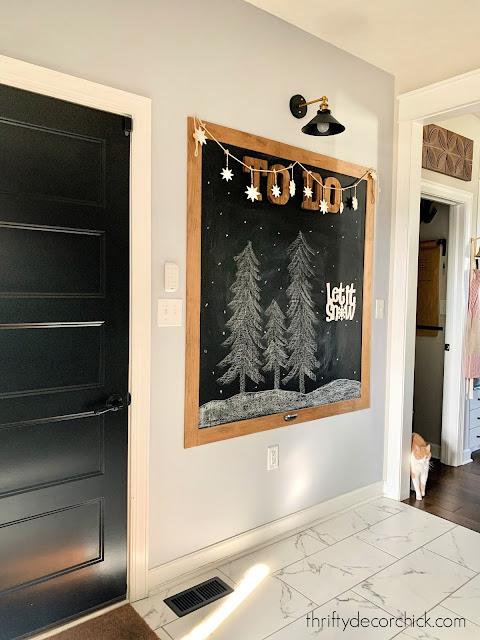 large chalkboard in mud room