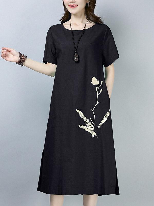 Vestido com Bordado Floral