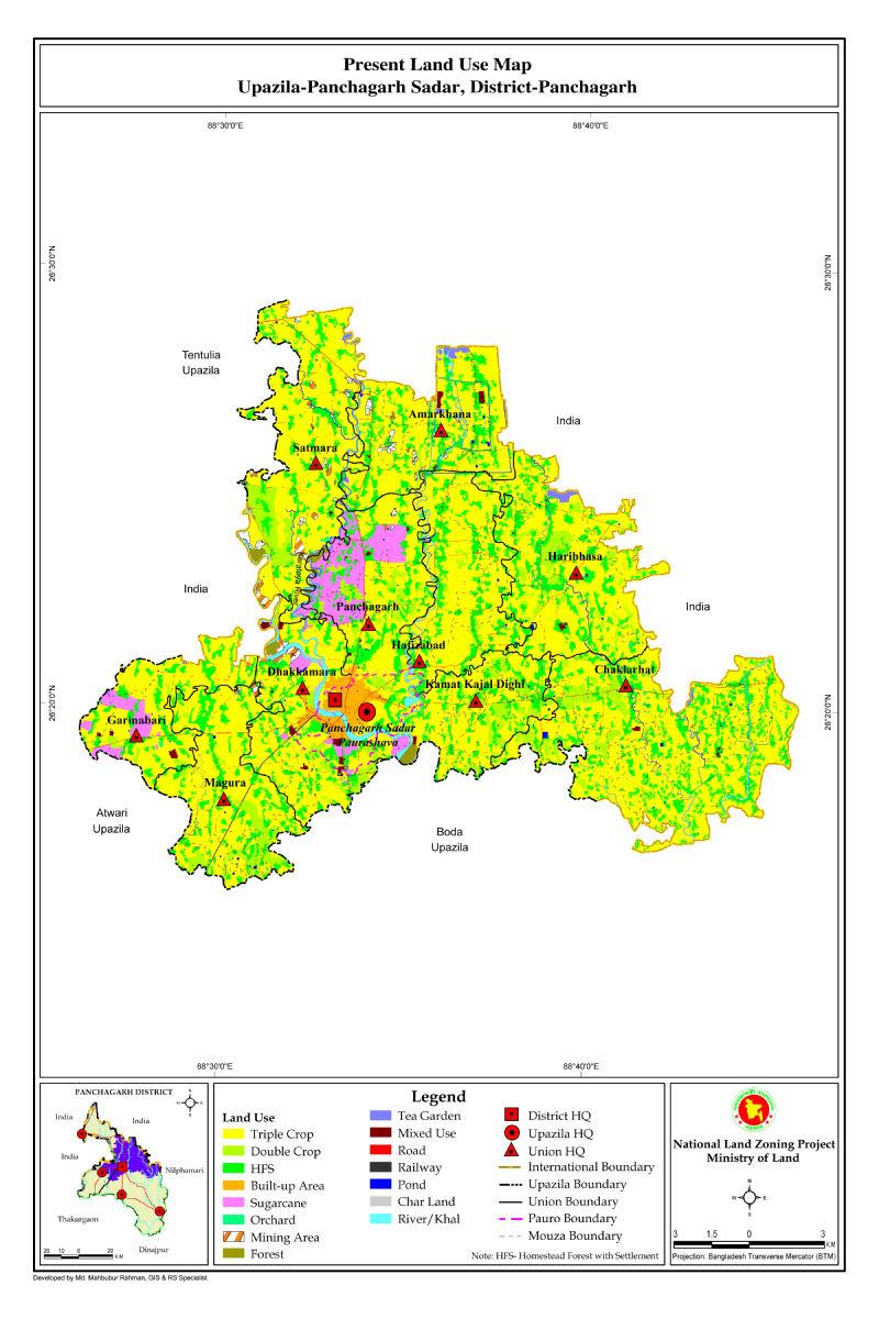 Panchagarh Sadar Upazila Mouza Map Panchagarh District Bangladesh