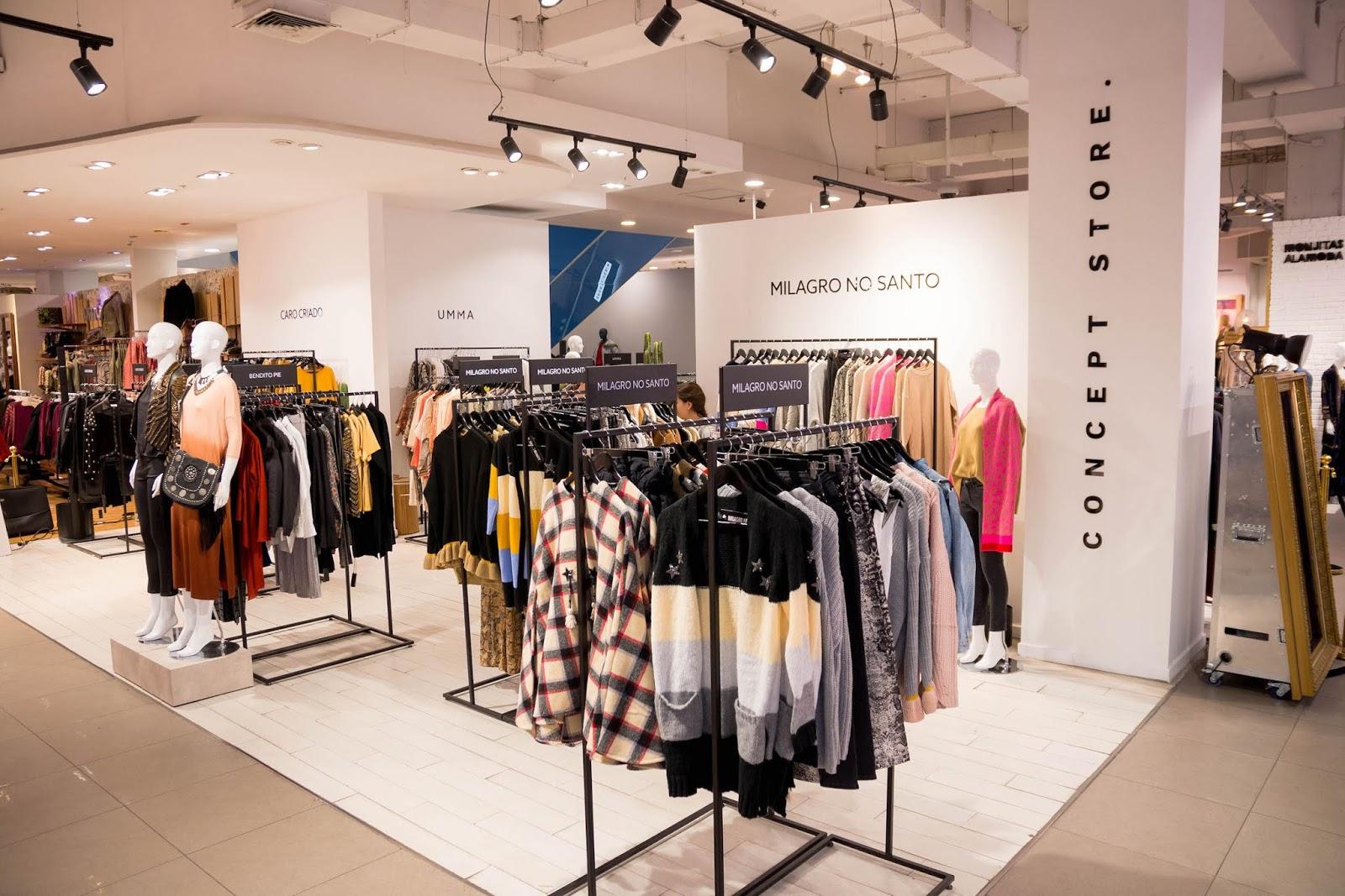 Panorámica de Concept Store moda chilena en Tiendas Paris de Alto Las Condes