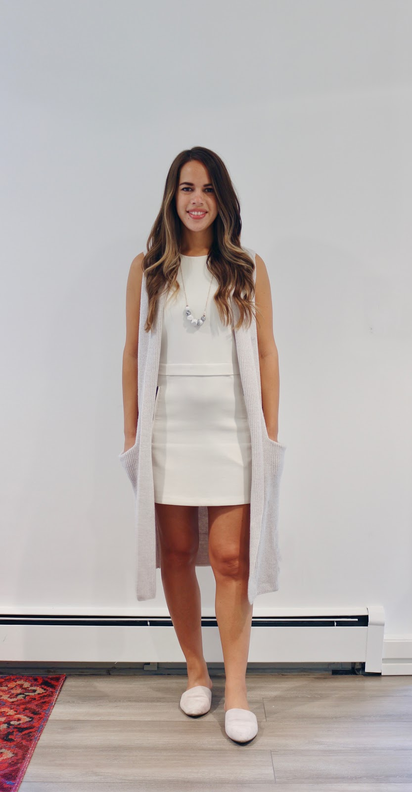 Jules in Flats -  White Shift Dress with Sleeveless Knit Vest (Business Casual Summer Workwear on a Budget)