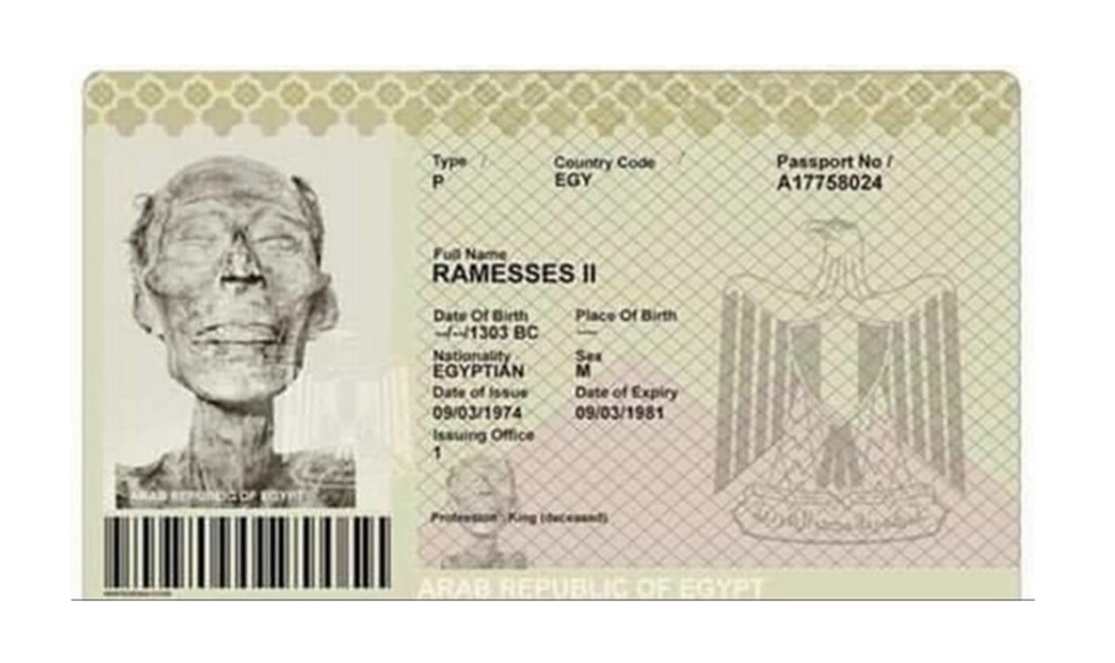 جواز سفر رمسيس الثاني