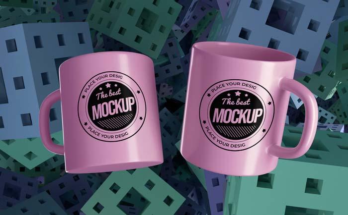 Abstract Mock Up Mugs Merchandise