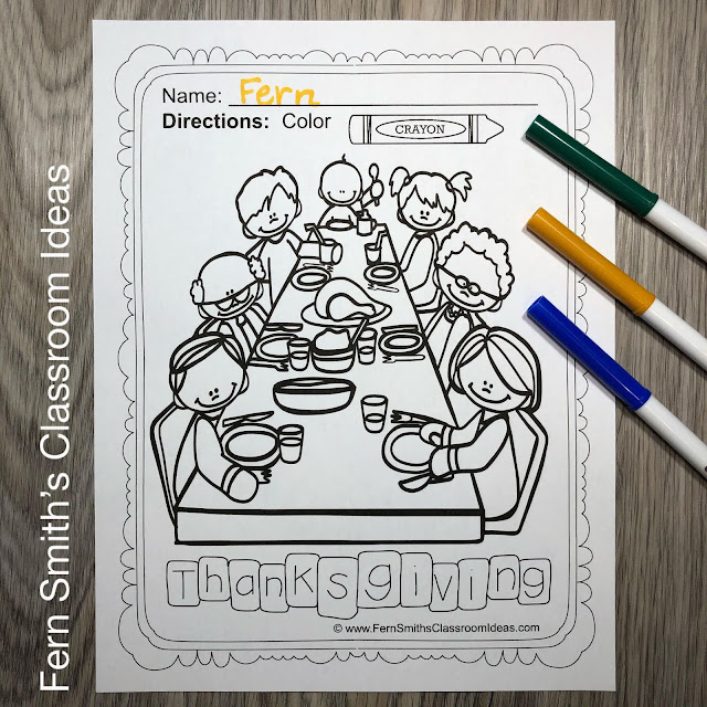 Thanksgiving Coloring Pages - 48 Page Thanksgiving Coloring Book #FernSmithsClassroomIdeas
