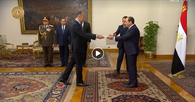 بالفيديو: لحظة تقديم السفير الأمريكي جوناثان كوهين أوراق اعتماده رسمياً إلى الرئيس عبد الفتاح السيسي