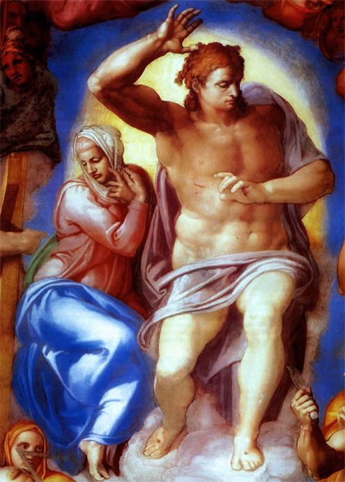 Capilla Sixtina de Miguel Ángel (Detalle del Juicio Final con Cristo separando a los justos de los pecadores y la Virgen María al fondo)