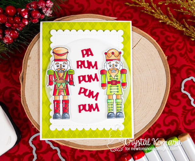 Pa rum pum pum by  Crystal features Nutcrackers and Frames & Flags by Newton's Nook Designs; #newtonsnook, #cardmaking, #christmas, #nutcracker