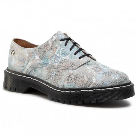 Pantofi de dama Oxford din piele albastri cu imprimeuri