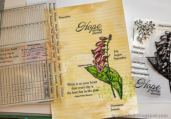 Layers of ink - Vintage Foxglove Art Journal Tutorial by Anna-Karin Evaldsson. Stamp with Simon Says Stamp Document It.