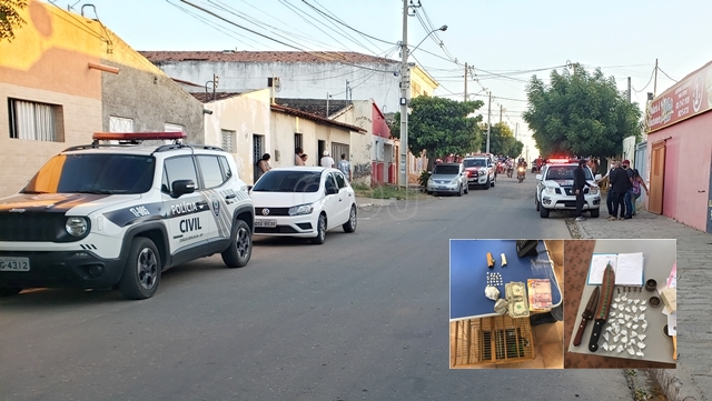 Vídeo: Com helicóptero, 50 policiais e 15 viaturas, operação prende suspeitos de tráfico de drogas e homicídios em Patos