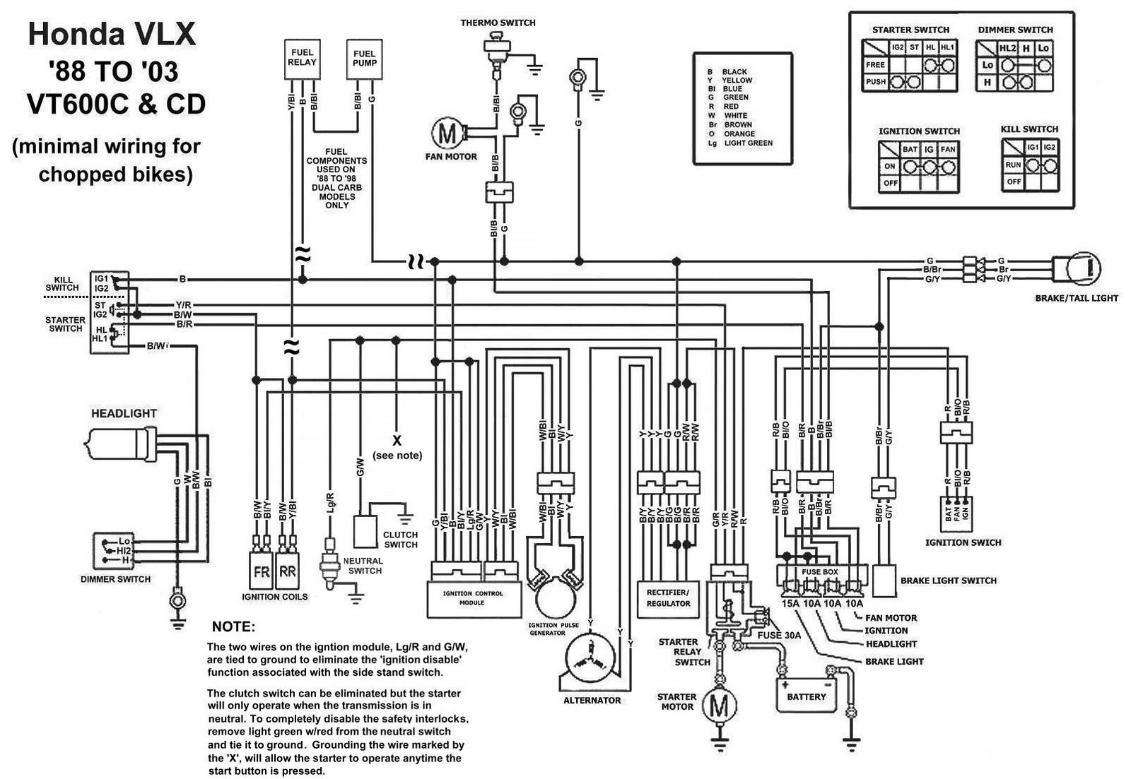 TJBC     Honda    Shadow VT600CD Chopped    Wiring       Diagram
