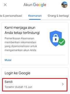 menu untuk mengatur password Google Mail