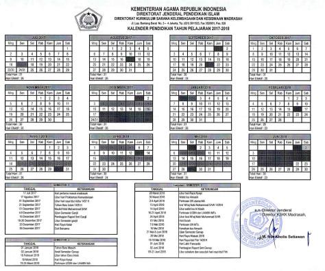 Download Kalender Pendidikan Madrasah (Kemenag) Tahun 2017/2018