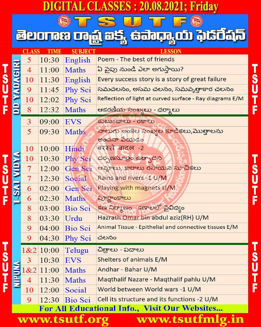 19th August  TS SCERT Online Digital classes Schedule and Worksheets Download