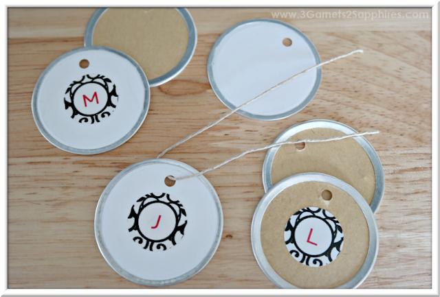 Easy DIY Monogram Hang Tags | 3 Garnets & 2 Sapphires