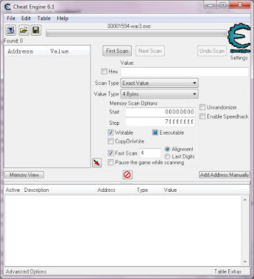 Gambar 1. Tampilan Program Cheat Engine.