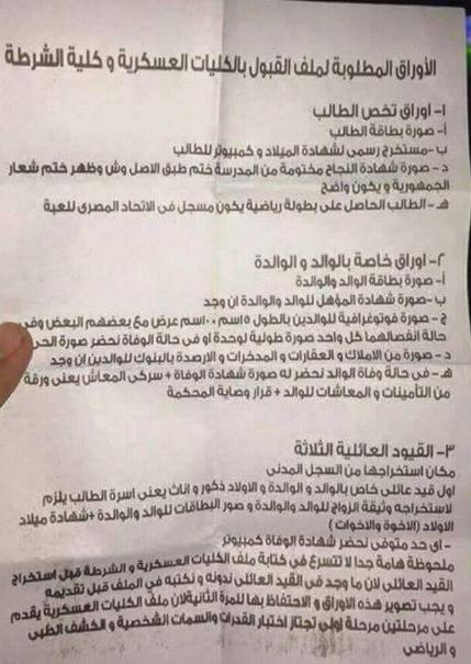 جميع الاوراق المطلوبة للتقديم للكليه الحربيه 2018-2019