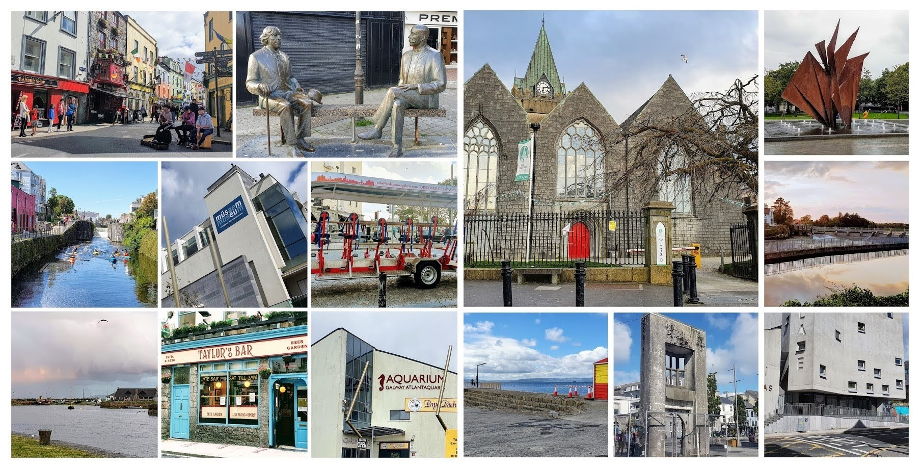 Things to do in Galway City - collage of Eyre Square, the Two Oscars, St Nicholas collegiate church, Martin Fountain, the salmon race, the Corrib river, Galway Museum, The Browne Doorway, Ireland National Acquarium, The Claddagh