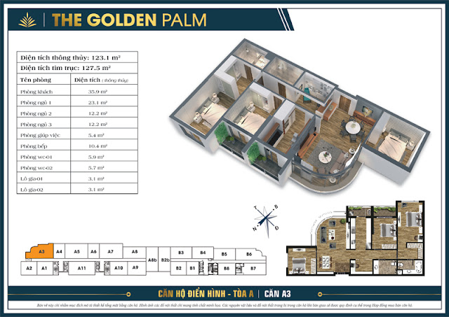 Mặt bằng căn A3 tòa A The Golden Palm