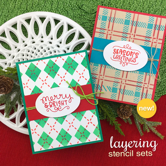 Christmas Cards by Jennifer Jackson | Argyle and Plaid Stencil Sets by Newton's Nook Designs #newtonsnook #handmade