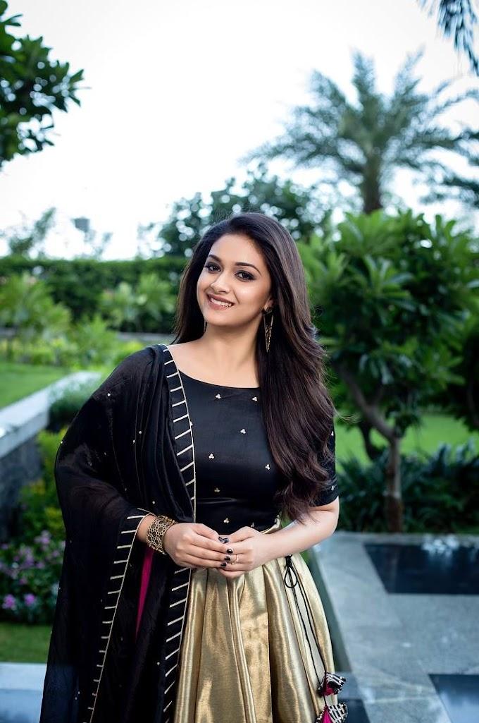 Keerthy Suresh Long Hair Photo Shoot In Black Dress