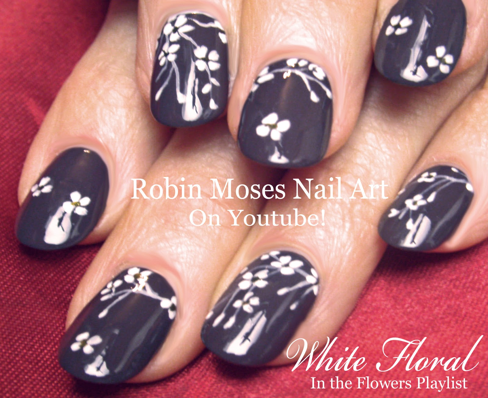 Nail Art by Robin Moses: Nail Art with Cherry Blossoms in White on ...