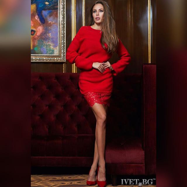Μακρυμάνικο mini κόκκινο φόρεμα DREAMY