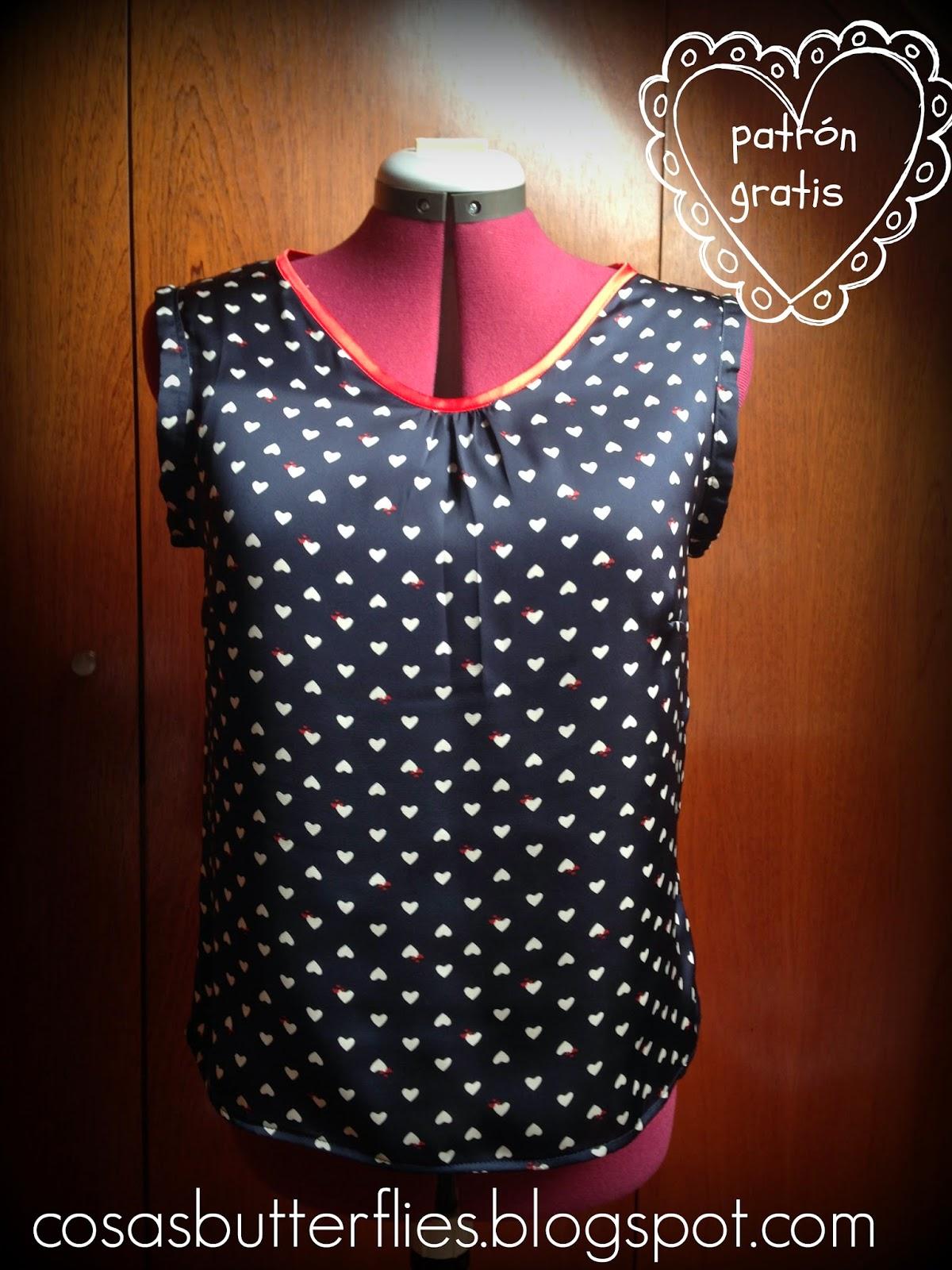 Cosas de Butterflies DIY patrn gratis blusa fcil muy love