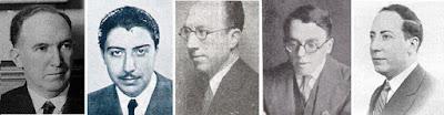 Los ajedrecistas españoles Manuel Golmayo, Rafael Gamonal, Brígido Chamero, Arístides Gromer y Martín de Ortueta