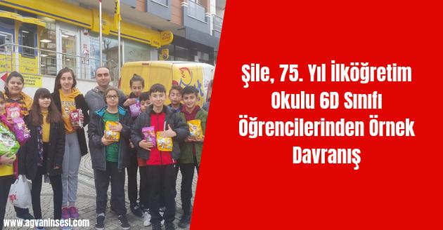 Şile, 75. Yıl İlköğretim Okulu 6D Sınıfı Öğrencilerinden Örnek Davranış
