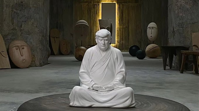 Търговци в Китай произведоха статуя на Доналд Тръмп като медитиращия Буда