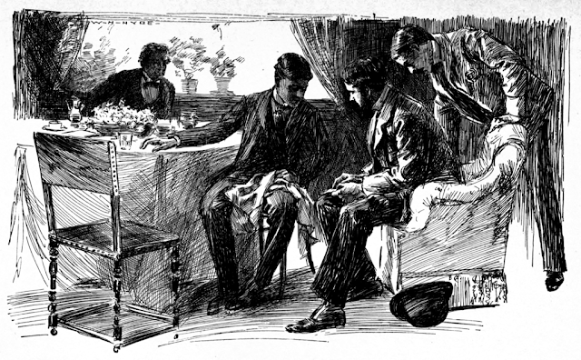 A scene from the A.L. Burt edition of The Memoirs of Sherlock Holmes