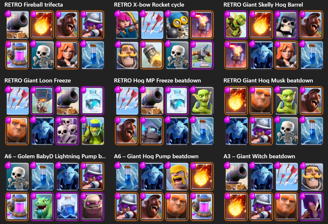 Desafio royale retr dicas de decks e como funciona for Clash royale deck arc x