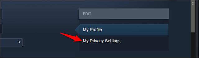 فتح إعدادات خصوصية الملف الشخصي في Steam