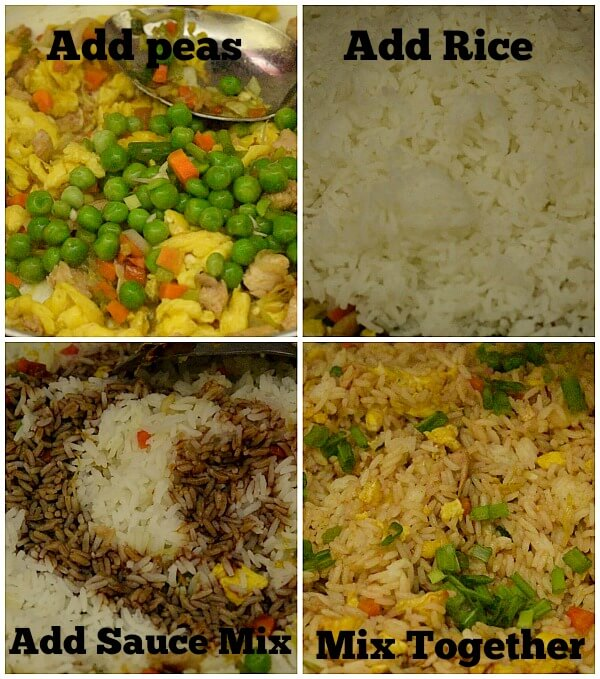 steps to make chicken fried rice - add peas ,rice,sauce mix and mix well