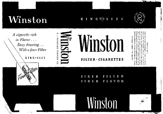 Winston packaging 1954