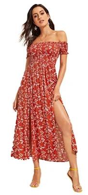 Floerns Women's Boho Floral Print Off Shoulder Split Long A Line Dress